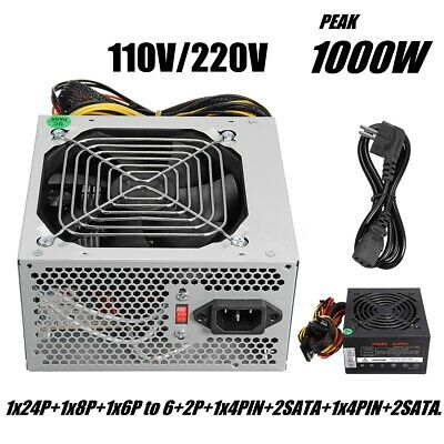 Max 1000W 24-PIN Power Supply ATX SATA PC Computer Gaming PSU PFC AMD Silent Fan