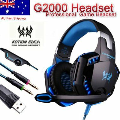 Gaming Headset Kotion G2000 Deep Bass Stereo w/ Mic LED Light for PC Gamer LotPA