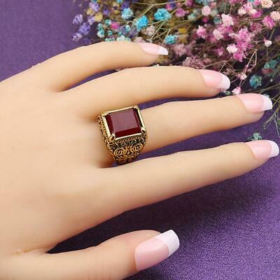 Gold Filled Ruby Women Rose Red Ruby Ring Engagement Wedding Jewelry FW