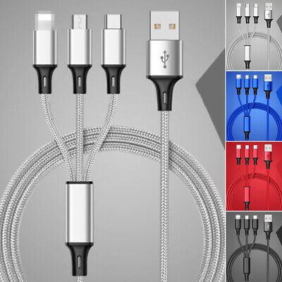 Kabel 3 in 1 Multi-Type Ladekabel Sync Laden für Iphone Android Mikro USB