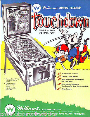 Williams TOUCHDOWN Original 1967 NOS Flipper Arcade Game Pinball Machine Flyer
