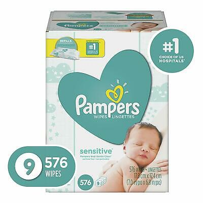 Pampers Sensitive Water-Based Baby Diaper Wipes,9 Refill Packs for Dispenser Tub
