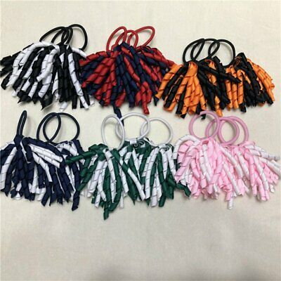 School Colour Hair Accessory Ponytail Korker Elastic Curly Netball Sport KU