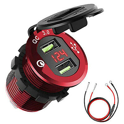 24f719f725e Dual USB QC 3.0 Fast Charger Socket with Voltmeter Waterproof for Car  Motorcycle