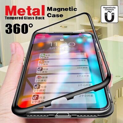 Magnetic Adsorption Metal Tempered Glass Case Cover For iphone X XR XS Max 8 7 6
