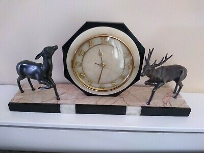 French Art Deco Clock working order, Spelter Stag & Doe On Marble Base