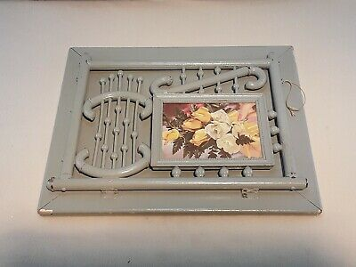 Vintage Antique Picture Frame Wall Mount Magazine Rack Bent Painted Brass Wood
