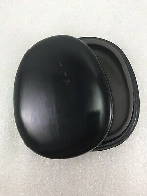 Japanese Small Calligraphy Ink Stone Carved Wood Wooden case Box