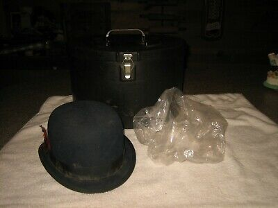 Vintage Mens Derby / Bowler Hat W/ Plastic Fitted Rain Protector Cover & Hat Box