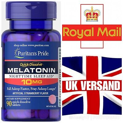 Puritan's Pride Melatonin 10mg Erdbeere  90 Tabletten UK Versand