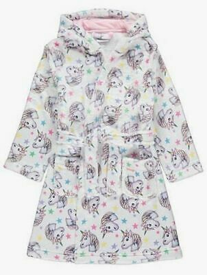 Girls Emoji® White Unicorn Print Hooded Dressing Gown Robe - Ages: 4 to 8 years