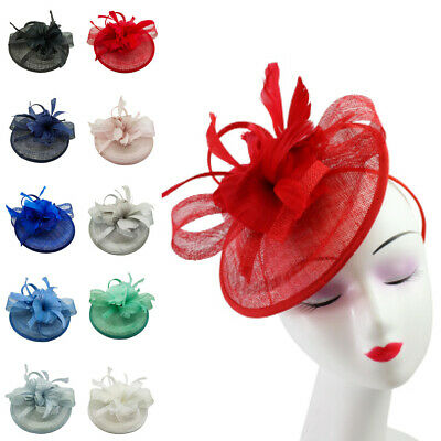 Flower Feather Hair Hat Fascinator Headband Clip Wedding Royal Ascot Formal Race