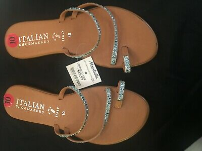 fea7bb3c216cc New ITALIAN Shoemakers Toe ring Sandals Rhinestone size 10 Made in Italy