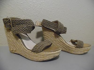 9abbcf35eb2 STEVE MADDEN Strappy Fabric Platform Ankle Strap Shoes Wedge Heels Size 10