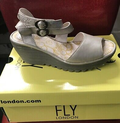 f03b46f7699 FLY London YISK Leather Dual Strap Wedge Sandal Silver Size EU 39 US 8-8.5