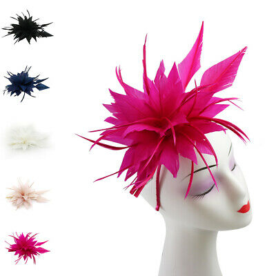Full Flower Feather Hair Hat Fascinator Headband Clip Wedding Royal Ascot Race