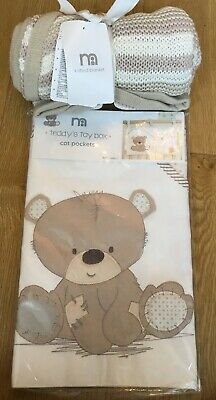 Mothercare Teddy's Toy Box Cot Pockets & Teddy's Toy Box Knitted Blanket