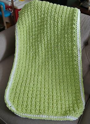 New Baby Easter Blanket Lime Green Crocheted Blanket with White Border Beautiful