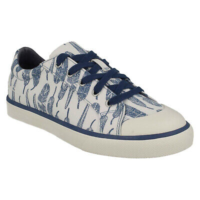 Girls Clarks Brill Fizz Lace Up Casual Pumps Canvas Trainers Comfort Shoes Size