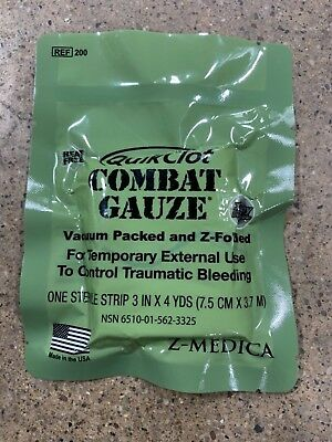 Hemostatic Gauze Quickclot Exp 03/2020 IFAK Medic EMT Wound Dressing First Aid