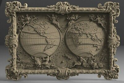 3D STL Model # THE MAP OF THE WORLD  # for CNC 3D Printer Engraver Carving Aspir