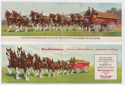 Vintage Budweiser Michelob Beer 2 Different Double Pc's With Clydesdale Horses