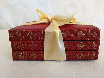 Red Antique Books Staging Library Decorating  Lot of 3 with Cream Ribbon 1929