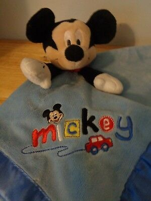 Disney Mickey Mouse Plush Doll Figure Baby Security Blanket Blankie Rattle