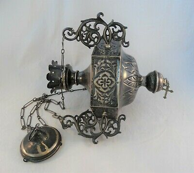 Antique Religious Hand Chased Incense Thurible Censer Sterling Silver 21.7 Troy