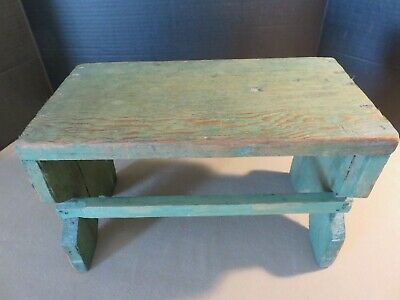 Vintage Antique Primitive Green Foot Stool Rustic Pine Wood Bench Step Stool