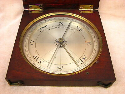 Large 19th century Dollond mahogany cased surveyors compass.