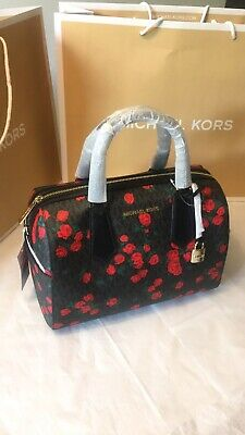 012bfe274bfb Authentic Michael Kors Hayes Large Duffle Satchel Bag Black MK Signature  Rose