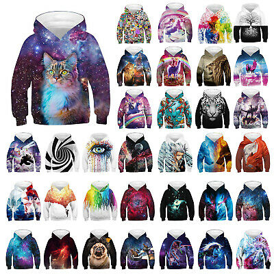 3D Print Hoodie Coat Kids Boys Girls Jacket Sweatshirt Pullover Jumper Top 4-13Y