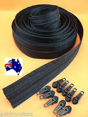 Continuous Zip & Slides (size no 3) 5 metres Zipper Upholstery Cushions - Black