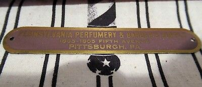 Original Pennsylvania Pittsburgh Barber Supply Brass Barber Chair Name Plate