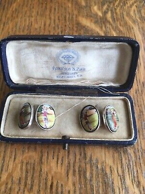 Pair of Antique Sterling Silver Golf Cufflinks in Fitted Box