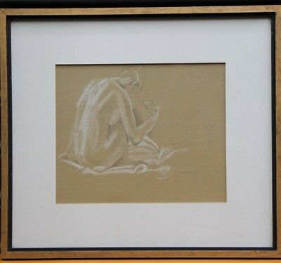 Original vintage pencil and pastel painting of a nude signed I.Chandler dated 74