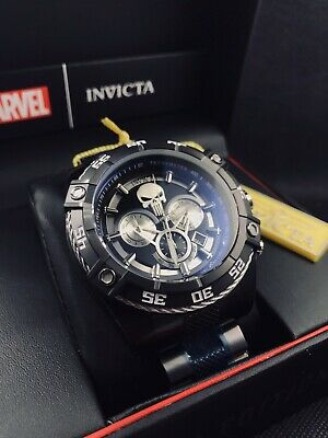 INVICTA Marvel Punisher Black Ion Bolt Limited Edition Mens 52mm Watch NEW
