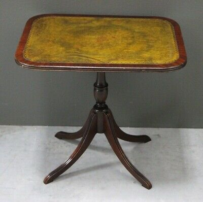 Vintage antique Georgian Regency style wine table leather inlay top carved wood
