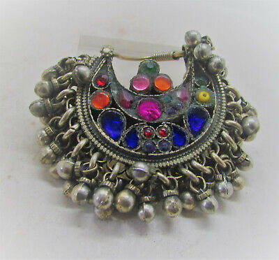 Beautiful Late Medieval Islamic Ottoman Silvered Pendant With Inserts