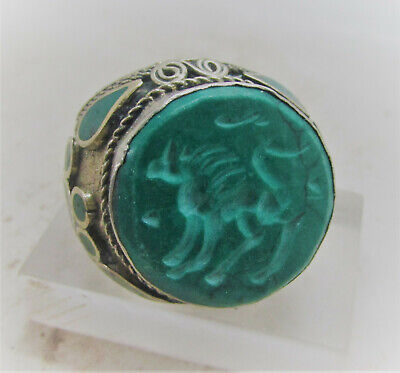 Beautiful Late Medieval Islamic Silvered Ring With Stone Intaglio