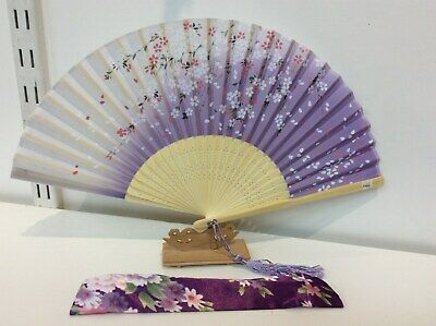 Japanese Silk Hand Fan -Sakura Flower with Silk Fan Holder-N066