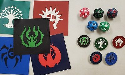 Guilds of Ravnica Guild Dice Set of five D20 spindowns & Guild pins & stickers