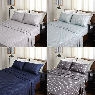 Micro Flannel Flannelette Printed Sheet Set Single King Single Double Queen King