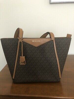 3c84255f3b97 MICHAEL KORS Whitney Brown Signature Canvas Small Tote Shoulder Bag NWT