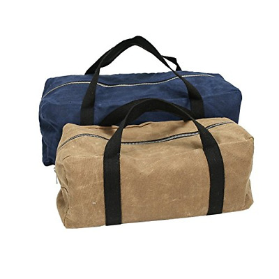 2 Packs Waxed Canvas Tool Bag Utility 15 Inch Wide Mouth Storage Tote Bag With