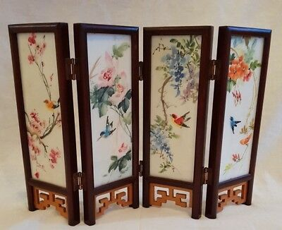 Lovely Vintage Decorative Miniature Chinese/asian Folding Room Divider