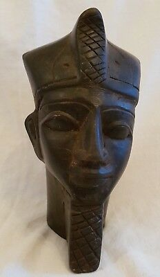 Vintage Hand Carved In Egypt Solid Wood? Egyptian Pharaoh  Head Bust/ Figurine
