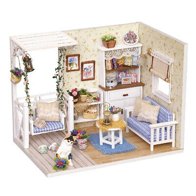 DIY Miniature Dollhouse Kit Realistic Mini 3D Wooden House Room Handmade C6B9