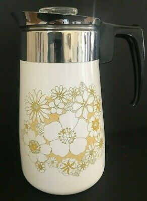 Vintage Corning Ware Floral Bouquet 9 Cup Stove Top Percolator Coffee Pot P219B